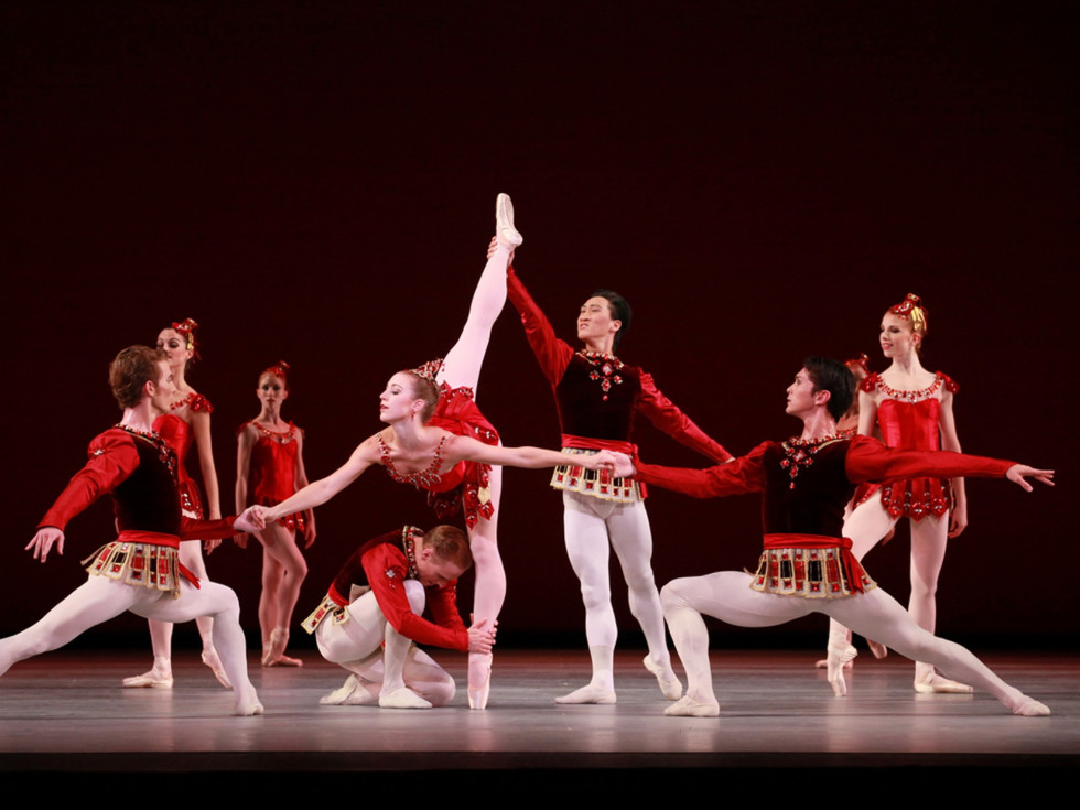 Houston Ballet artists in Rubies, from Jewels, choreography by George Balanchine