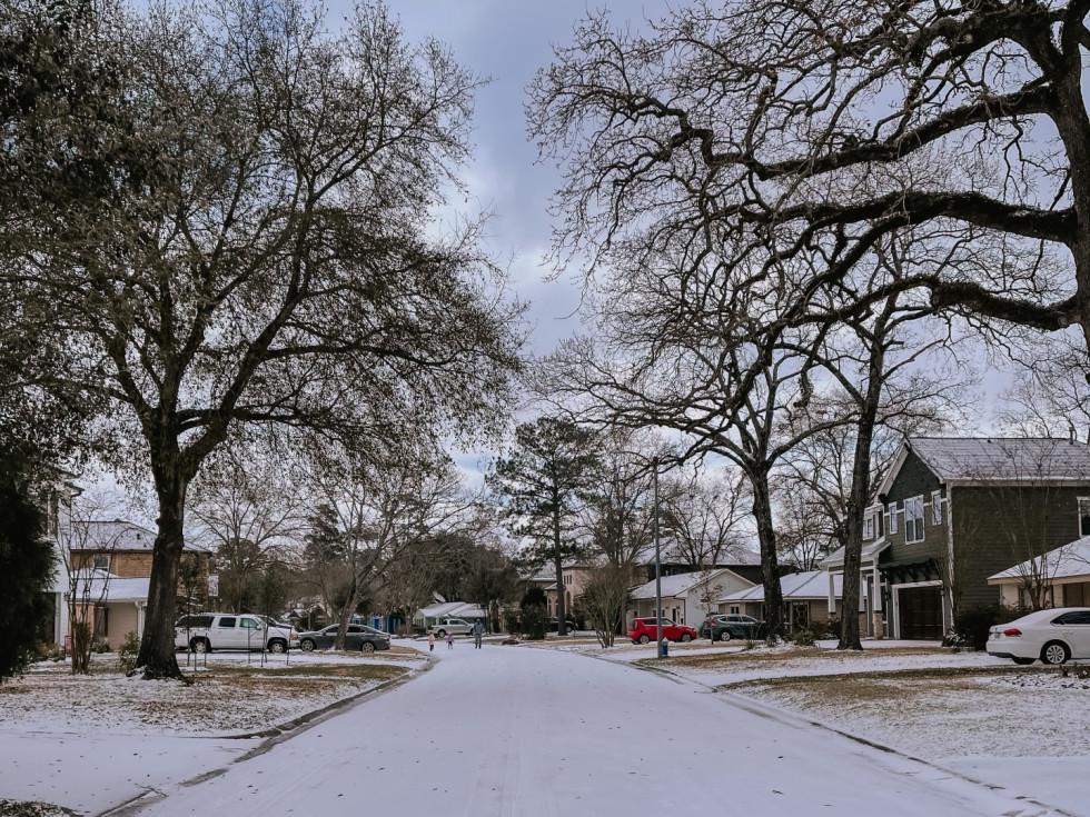 Houston Oak Forest snow 2021