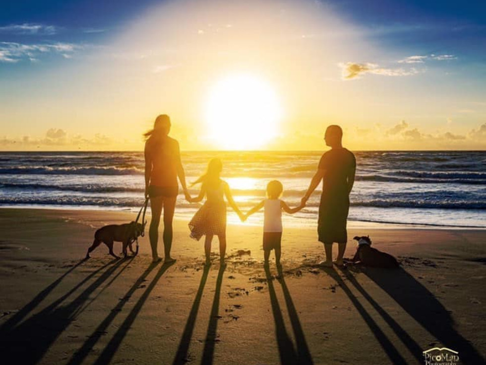 Family at sunset on South Padre Island