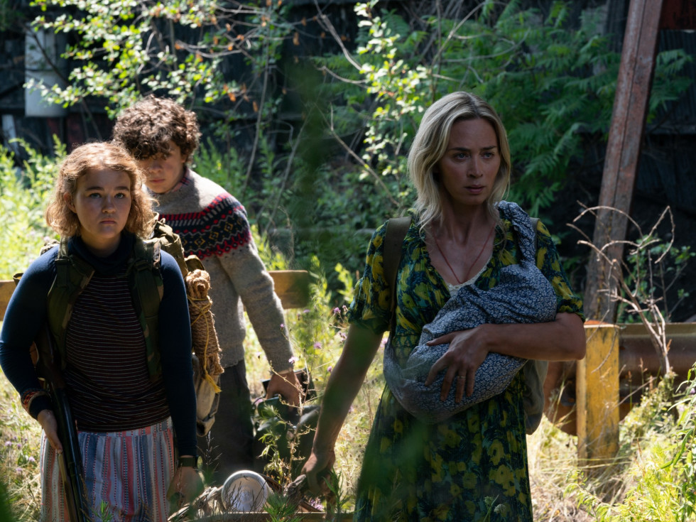 Millicent Simmonds, Noah Jupe, and Emily Blunt in A Quiet Place Part II
