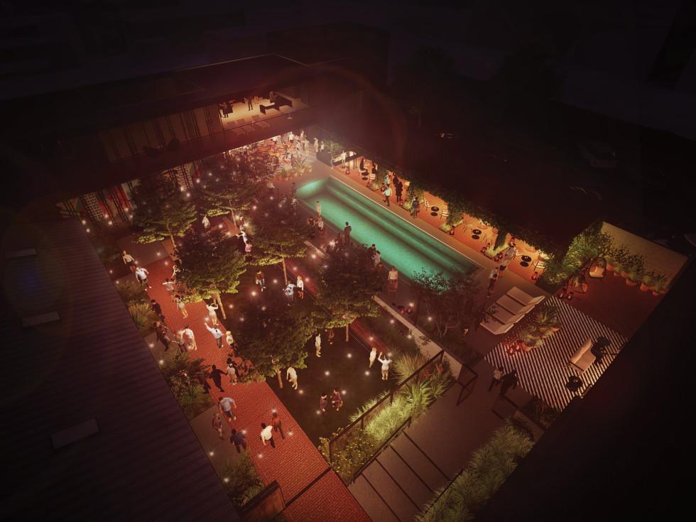 Pershing pool night rendering