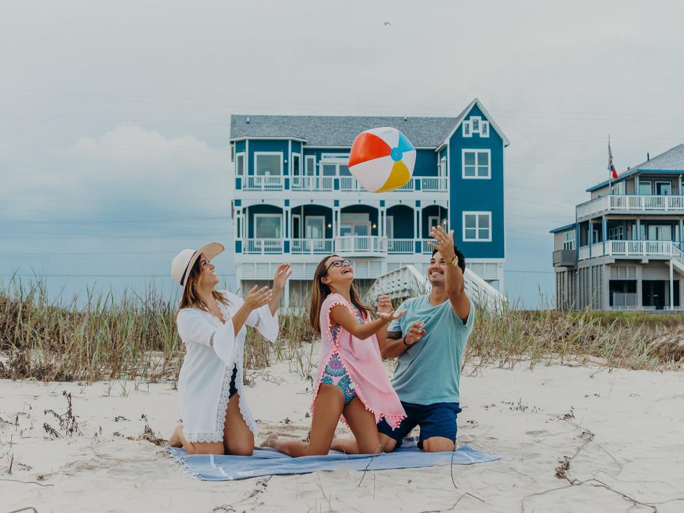 Family on Galveston beach