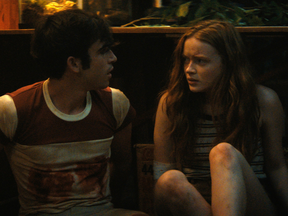 Ted Sutherland and Sadie Sink in Fear Street Part Two: 1978