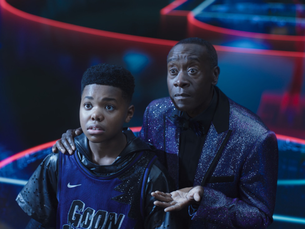 Cedric Joe and Don Cheadle in Space Jam: A New Legacy