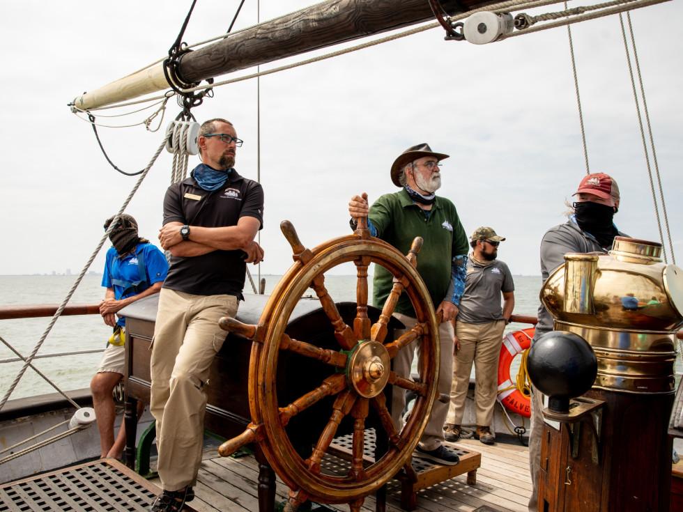Elissa ship Galveston sailing wheel