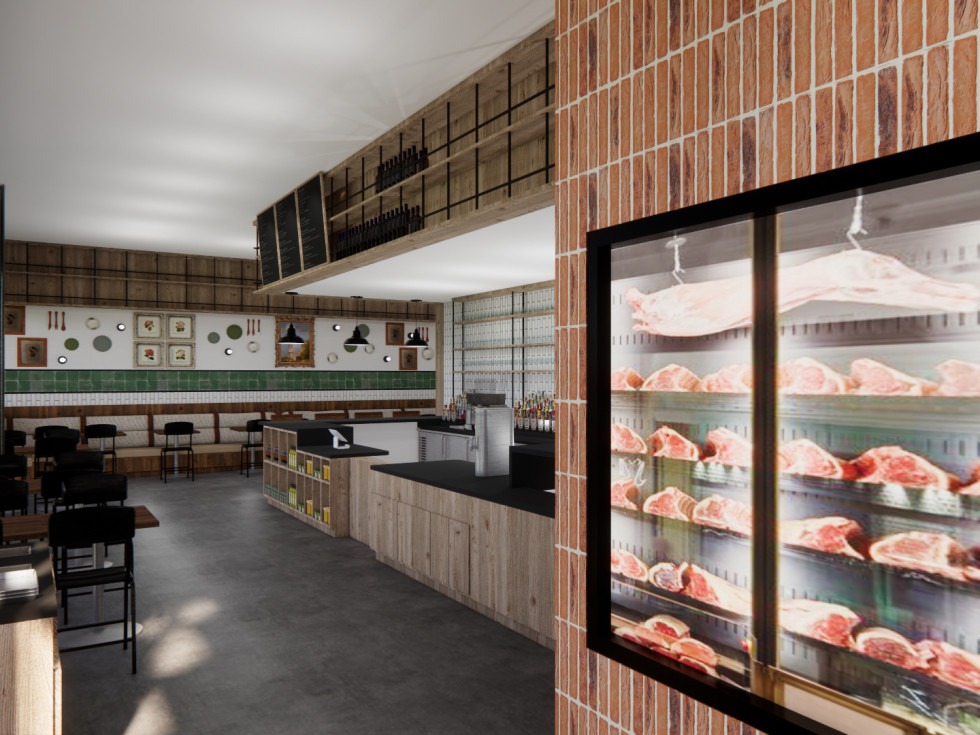 Cherry Block Craft Butcher and Kitchen dining room rendering