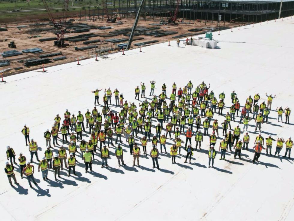 Tesla factory Austin construction workers