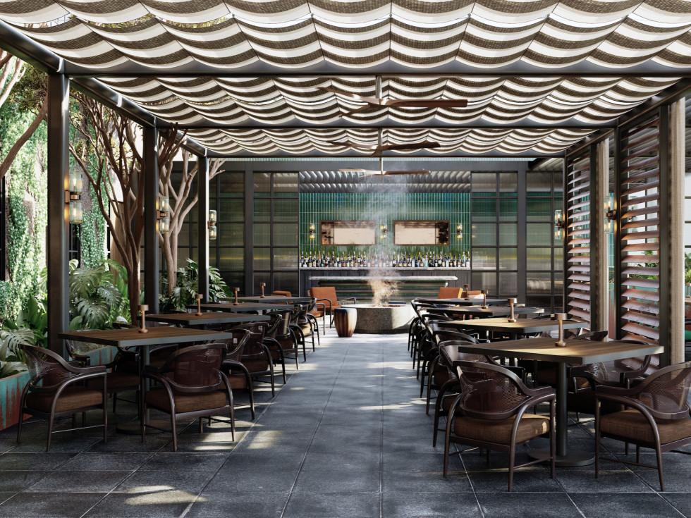 Andiron Steakhouse rendering patio