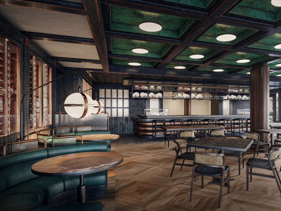 Andiron Steakhouse rendering dining room