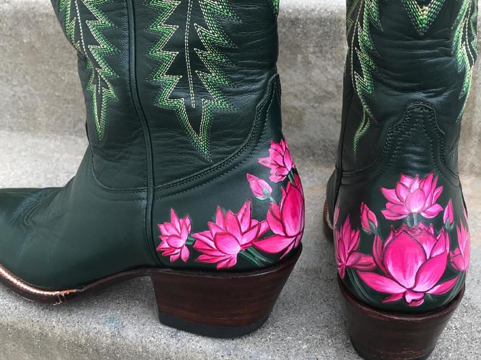 DTLAcustom Tara Martin floral cowboy boots