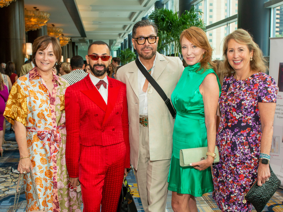 LWI Houston 2021 fashion show luncheon Leigh Smith, Fady Armanious, Ceron, Marsha Finger, Ileana Trevino