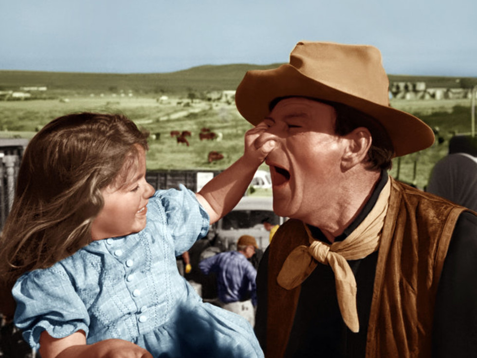 Aissa Wayne with her father John Wayne in The Alamo