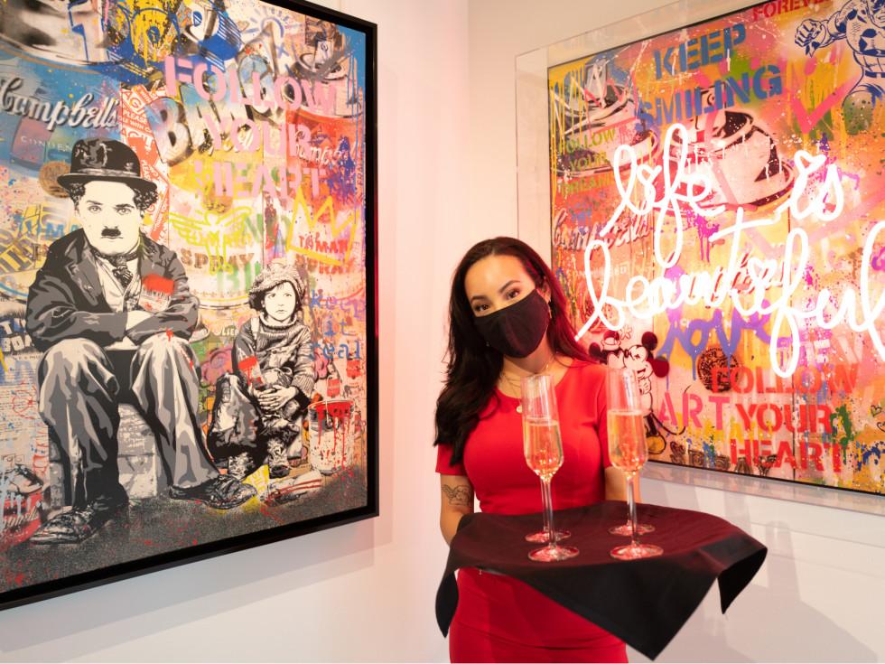 Arts, Hearts, Cars Art of the World Gallery Mr Brainwash waitress