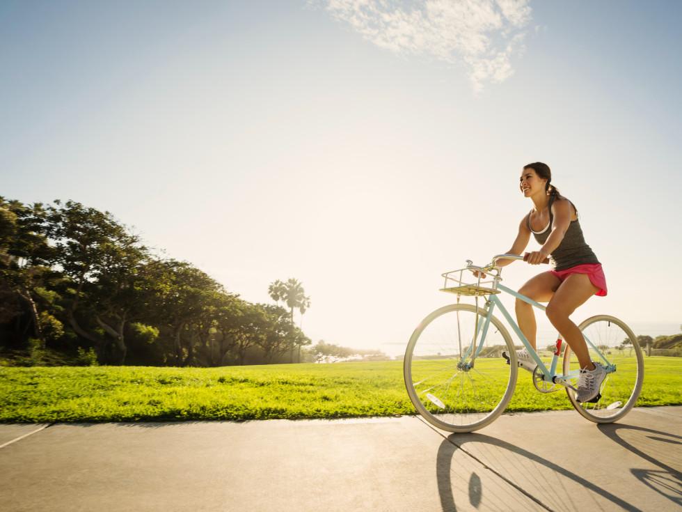 cyclist bicycle woman on boke