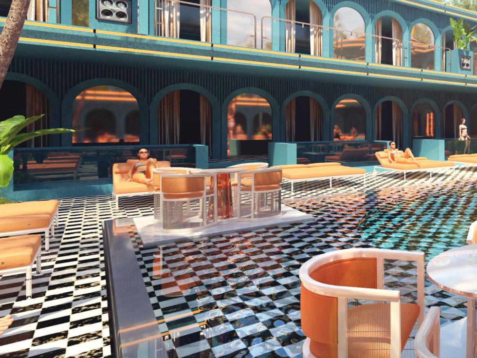 Sekai Night and Day pool renderng
