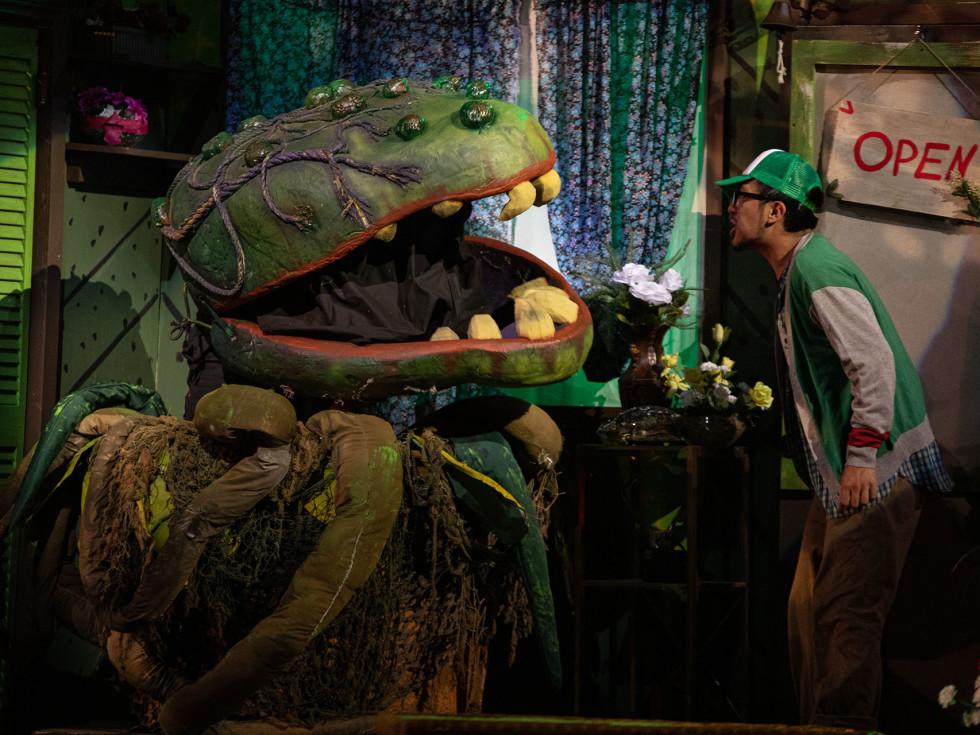 Ben Stegmair, Rodney M. Morris, Alejandro Saucedo in Little Shop of Horrors at Theatre Three