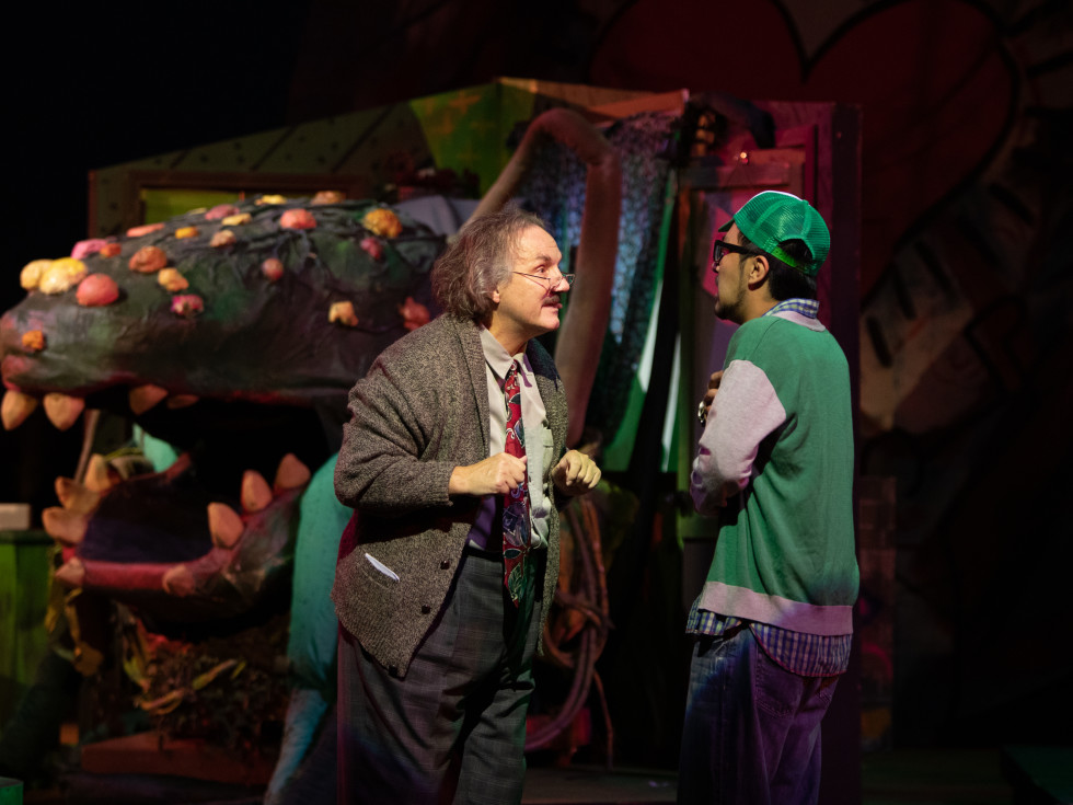Bob Reed and Alejandro Saucedo in Little Shop of Horrors at Theatre Three