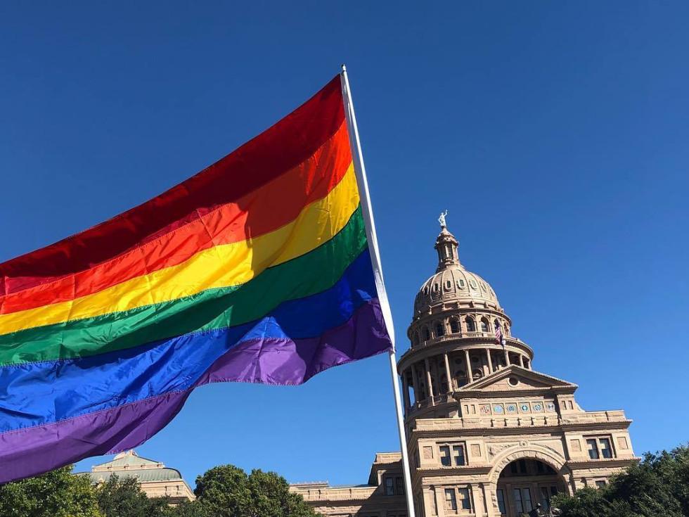 Pride flag Texas capitol