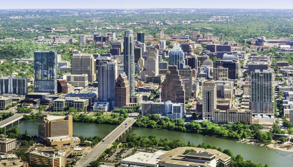 Austin aerial skyline with downtown