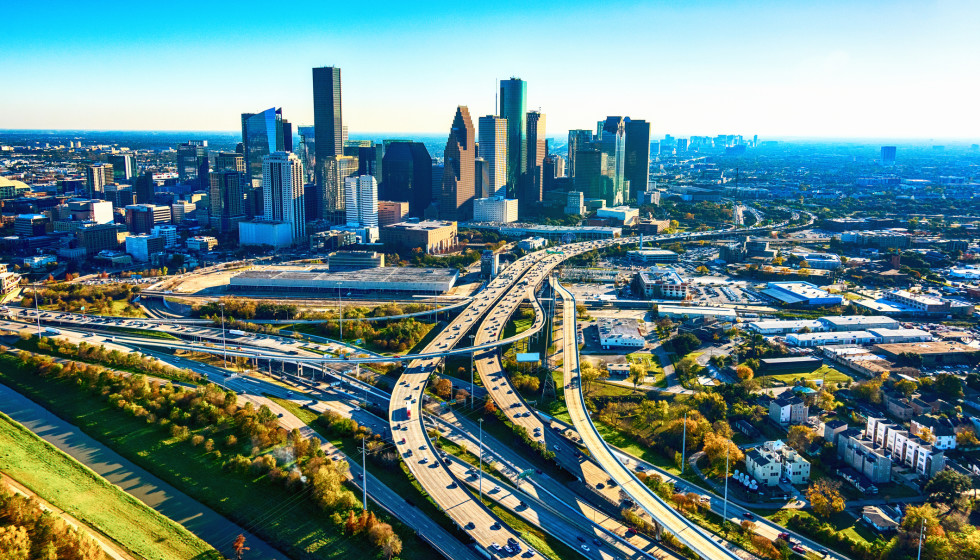 Houston aerial skyline with traffic on the highway