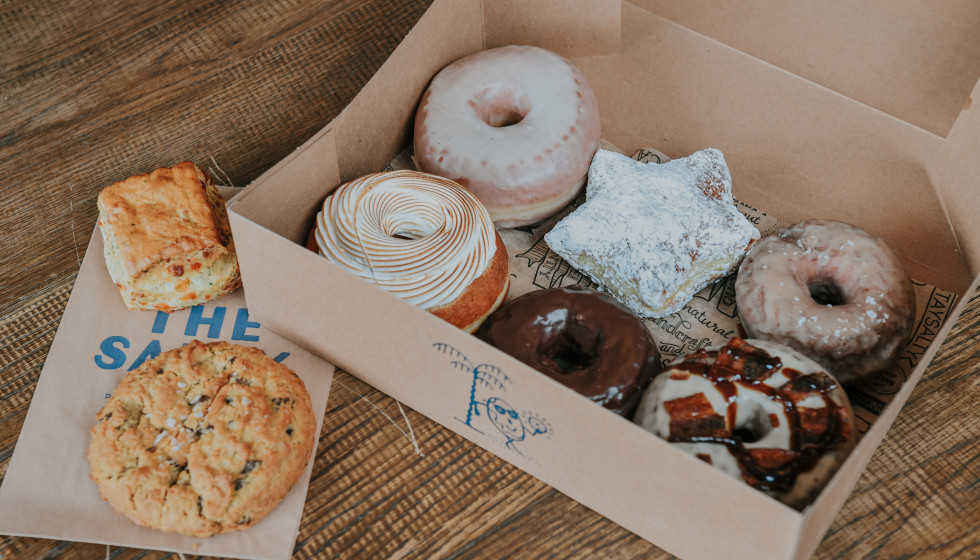 The Salty Donut's box of doughnuts