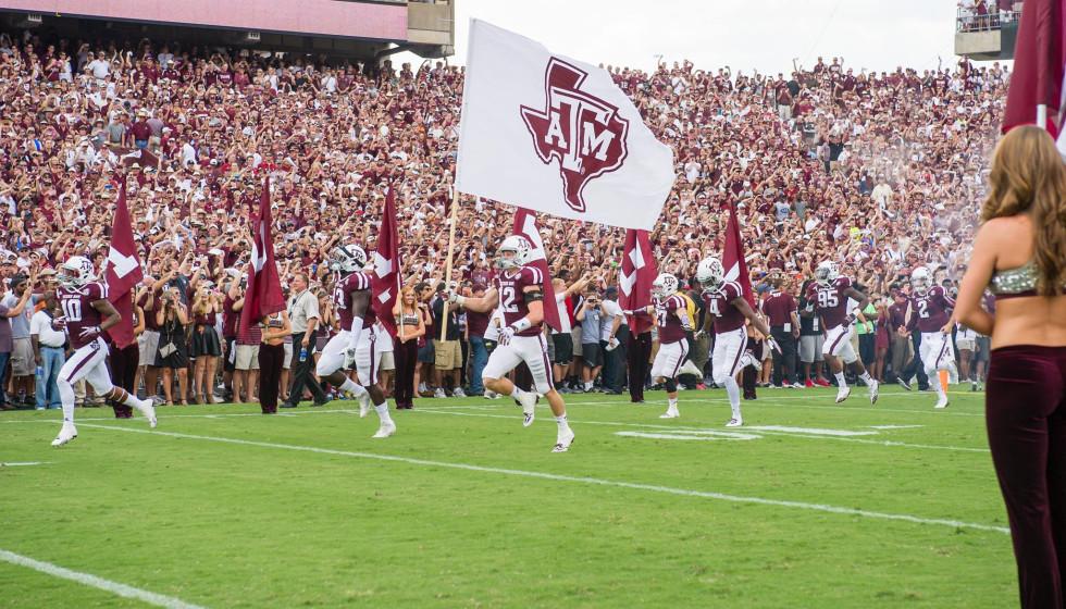Texas A&M football game field team flag