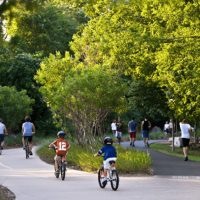 People on bikes on Katy Trail in Dallas