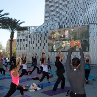 Tobin Center for the Performing Arts River Walk Plaza fitness yoga