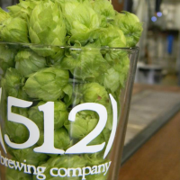 512 Brewing Company Austin brewery glass logo hops