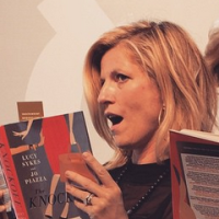 Lucy Sykes at book signing for The Knockoff