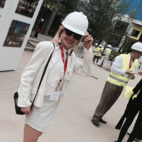 Nancy Marcus Golden at the River Oaks District hard hat tour