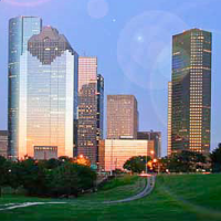 welcome to Houston postcard with skyline
