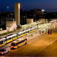 DART rail and buses at night, Fair Park
