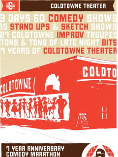 Coldtowne poster for 7th anniversary comedy marathon