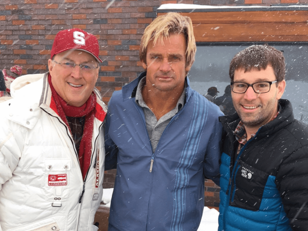 "Ron Hulme, renowned surfer Laird Hamilton and Dan La Caze at the premiere of the film on Hamilton's life- ""Take Every Wave-"""