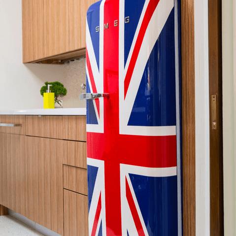 Houzz Houston house home 1960s London Texas style kitchen Union Jack refrigerator fridge