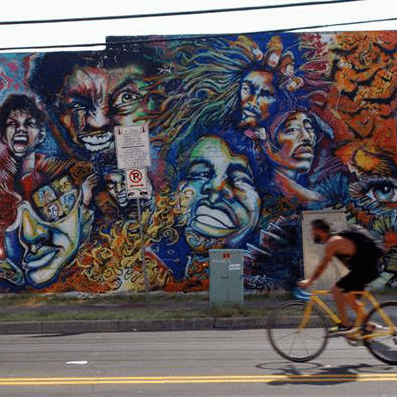 Chicon Street 12th Street intersection mural