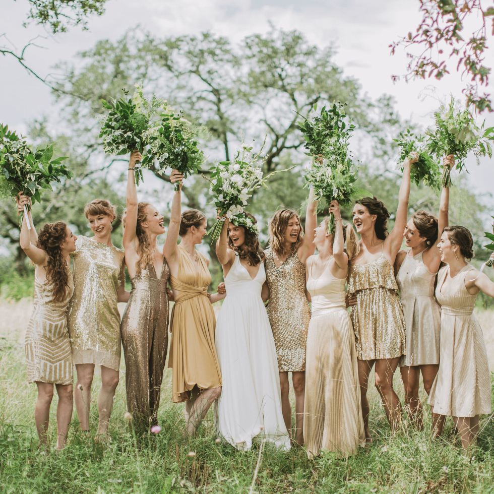 Hill Country wedding prospect house bridesmaids