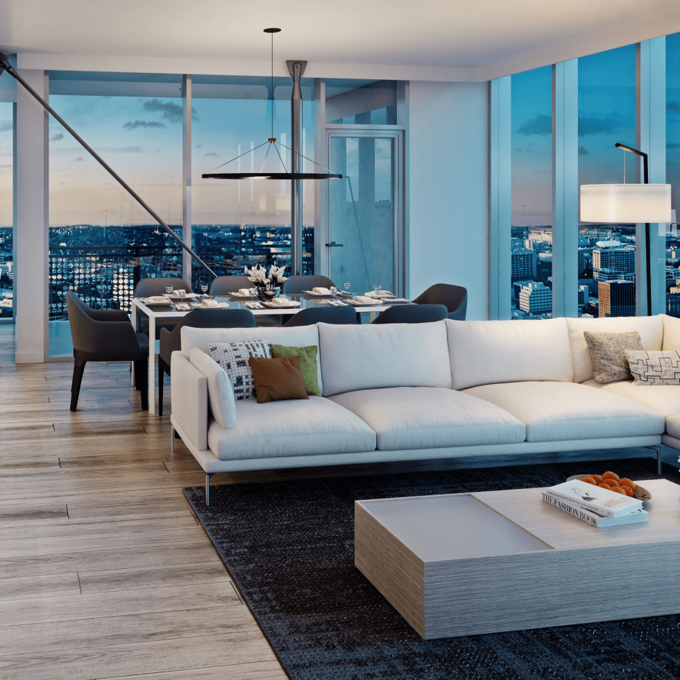 The Independent jenga tower downtown Austin interior living room rendering