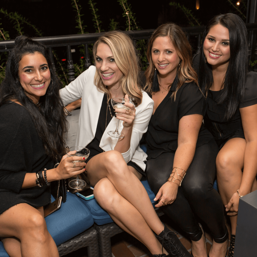 BumbeBFF party at Sophia's October 2016 Dezireh Azarian Taylor Ellison Cara Caulkins Tania Ortega