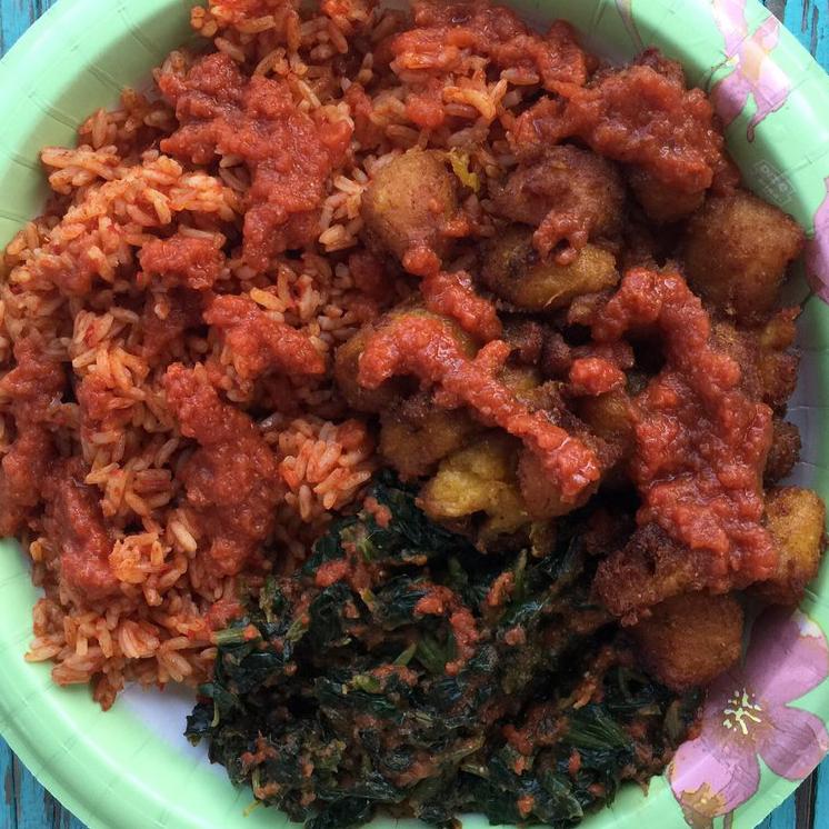 Wasota African Cuisine spinach plantain jollof rice