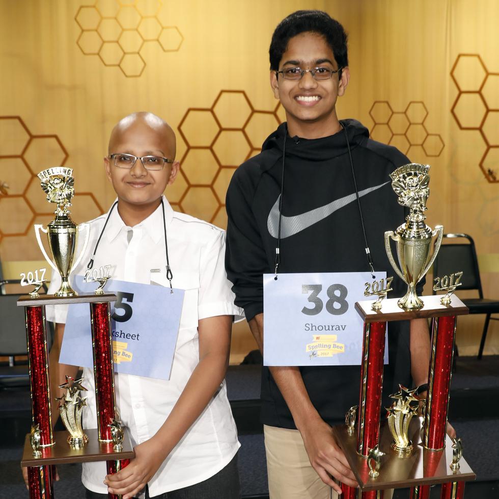 Houston Public Media Spelling Bee runnerup Raksheet Kota and winner Shourav Dasari