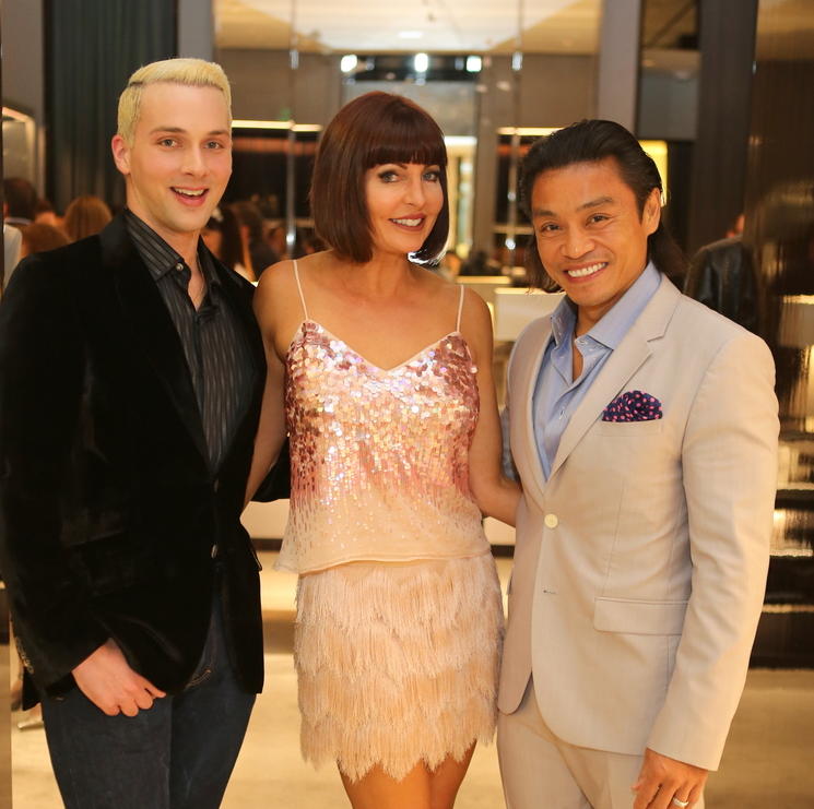 Jonathan Blake, Staci Henderson, Quang Henderson at Blue Cure party at Tom Ford