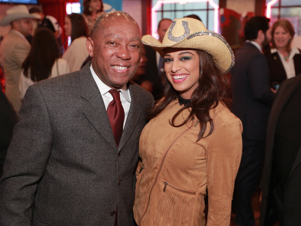 Sylvester Turner, Charisma Glassman at Mayor's Rodeo Kickoff Breakfast
