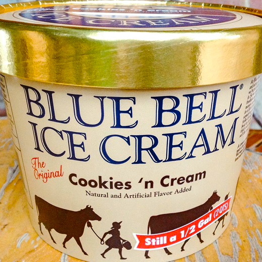 Houston, Blue Bell Ice Cream, August 2015, Cookie N Cream container