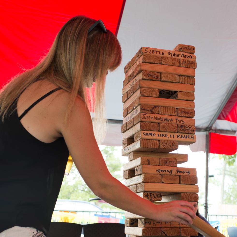 News, Shelby, Revelry party, July 2015, Jenga Fun