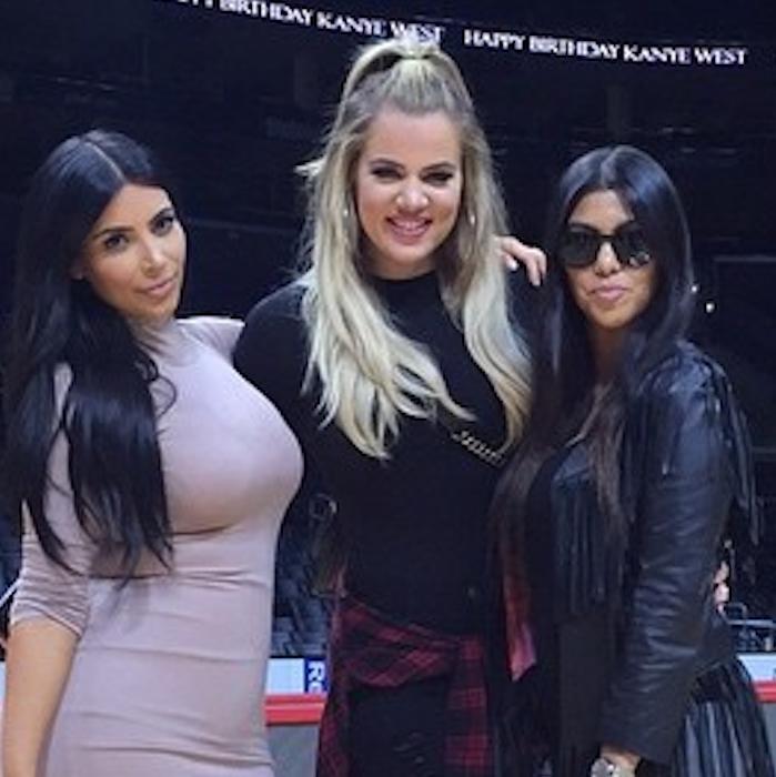 Houston, Kim Kardashian West, Khloe Kardashian, Kourtney Kardashian at Kanye West birthday at Staples, July 2015