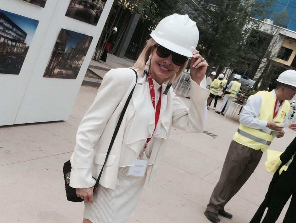 Nancy Marcus Golden at the River Oaks District hard hat tour