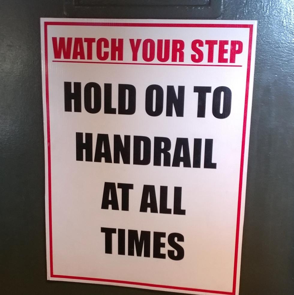 Houston, Galveston gambling boat, June 2017, hold onto rails sign