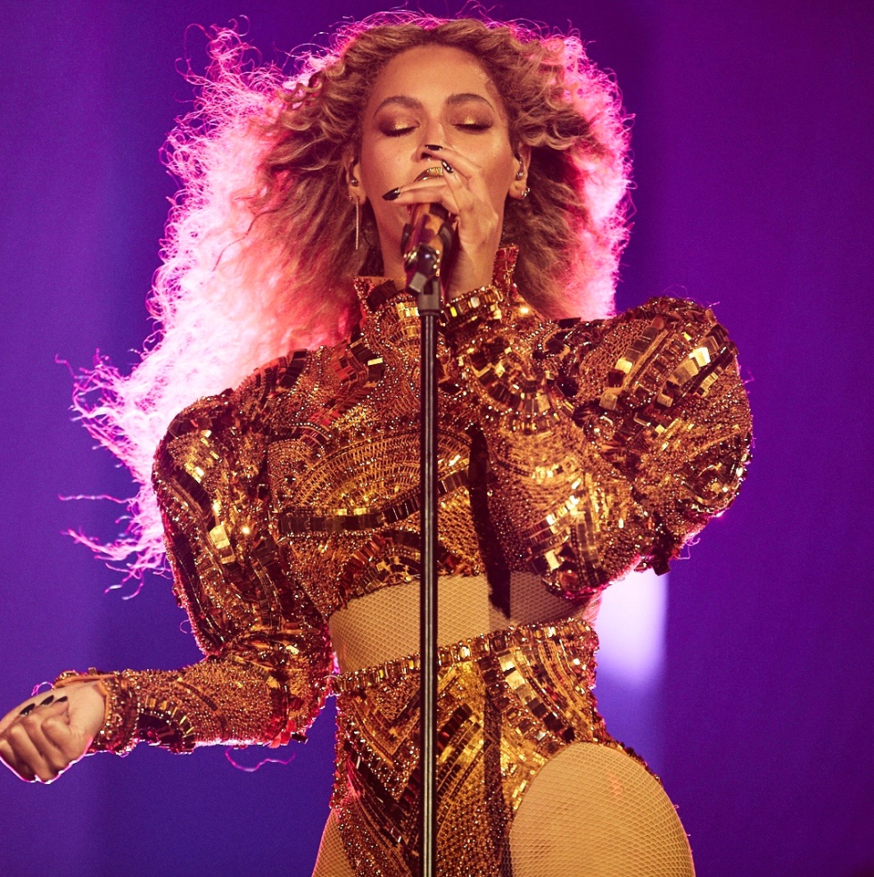 Beyonce in Givenchy Haute Couture sequined bodysuit at Houston concert